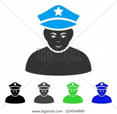 Gladness Army General vector pictograph. Vector illustration style is a flat iconic army general symbol with grey, black, blue, green color variants. Human face has smiling expression.