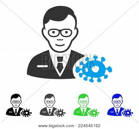Joyful Bacteriologist vector pictograph. Vector illustration style is a flat iconic bacteriologist symbol with grey, black, blue, green color versions. Person face has joyful expression.