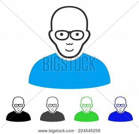 Enjoy Bald Man vector icon. Vector illustration style is a flat iconic bald man symbol with grey, black, blue, green color variants. Person face has gladness mood.