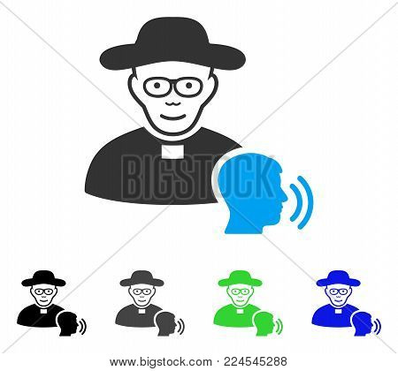 Cheerful Believer Confession vector icon. Vector illustration style is a flat iconic believer confession symbol with gray, black, blue, green color variants. Person face has joy emotion.
