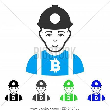 Joyful Bitcoin Miner vector pictograph. Vector illustration style is a flat iconic bitcoin miner symbol with gray, black, blue, green color variants. Person face has positive feeling.