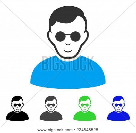 Enjoy Blind Man vector pictograph. Vector illustration style is a flat iconic blind man symbol with gray, black, blue, green color versions. Person face has glad sentiment.