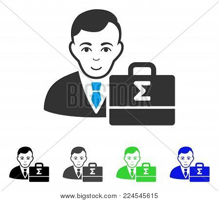 Enjoy Bookkeeper vector pictograph. Vector illustration style is a flat iconic bookkeeper symbol with grey, black, blue, green color versions. Human face has glad expression.