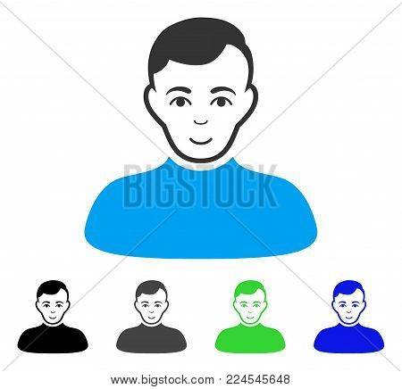 Gladness Boy vector pictograph. Vector illustration style is a flat iconic boy symbol with gray, black, blue, green color versions. Person face has gladness sentiment.