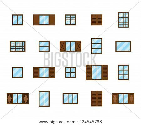 Set of flat compatible house's windows in the same style and size isolated on white background.