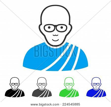 Cheerful Buddhist Monk vector icon. Vector illustration style is a flat iconic buddhist monk symbol with grey, black, blue, green color variants. Person face has gladness emotions.