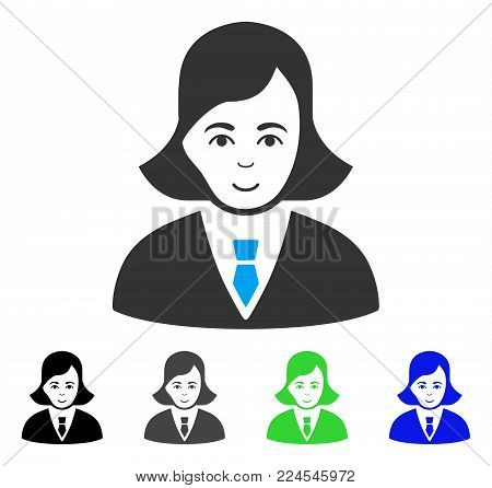 Happiness Business Lady vector pictograph. Vector illustration style is a flat iconic business lady symbol with grey, black, blue, green color versions. Human face has joy emotion.