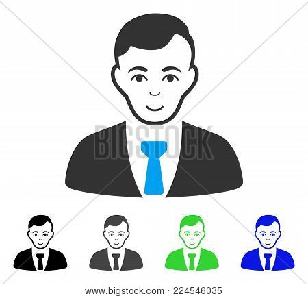 Positive Businessman vector pictogram. Vector illustration style is a flat iconic businessman symbol with grey, black, blue, green color variants. Human face has smiling mood.