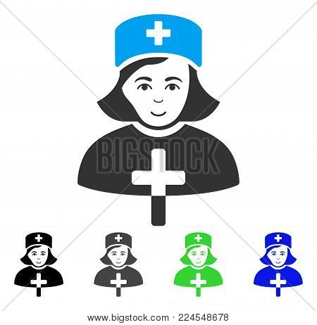 Glad Catholic Lady Doctor vector pictogram. Vector illustration style is a flat iconic catholic lady doctor symbol with grey, black, blue, green color variants. Person face has smiling sentiment.