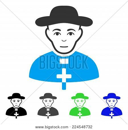Joy Catholic Shepherd vector icon. Vector illustration style is a flat iconic catholic shepherd symbol with grey, black, blue, green color versions. Human face has enjoy emotion.