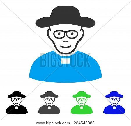 Joy Church Shepherd vector icon. Vector illustration style is a flat iconic church shepherd symbol with gray, black, blue, green color versions. Human face has cheerful emotions.