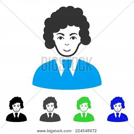 Gladness Clerk Woman vector pictogram. Vector illustration style is a flat iconic clerk woman symbol with grey, black, blue, green color versions. Human face has positive expression.