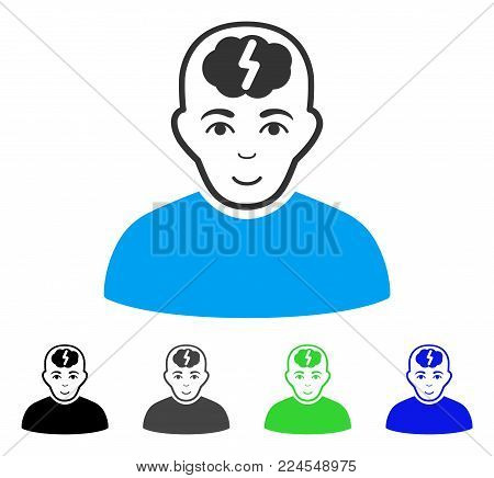 Glad Clever Boy vector pictograph. Vector illustration style is a flat iconic clever boy symbol with gray, black, blue, green color versions. Person face has glad emotion.