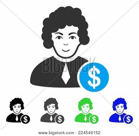 Happiness Corrupt Judge vector icon. Vector illustration style is a flat iconic corrupt judge symbol with grey, black, blue, green color variants. Human face has glad emotion.