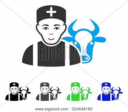 Gladness Cow Veterinarian vector icon. Vector illustration style is a flat iconic cow veterinarian symbol with gray, black, blue, green color variants. Human face has happiness feeling.