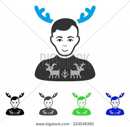 Positive Deers Pullover Horned Husband vector pictograph. Vector illustration style is a flat iconic deers pullover horned husband symbol with gray, black, blue, green color variants.