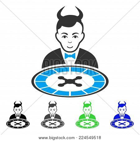 Positive Devil Roulette Dealer vector pictogram. Vector illustration style is a flat iconic devil roulette dealer symbol with gray, black, blue, green color versions. Human face has joy sentiment.