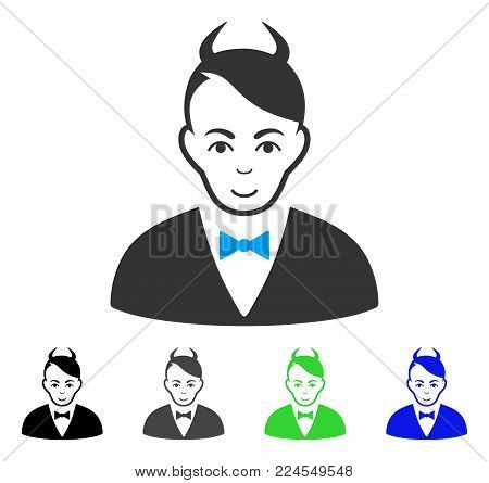 Smiling Devil vector icon. Vector illustration style is a flat iconic devil symbol with grey, black, blue, green color versions. Human face has enjoy emotion.