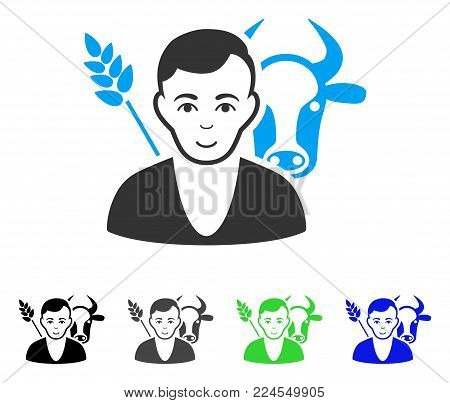 Joy Farmer vector pictograph. Vector illustration style is a flat iconic farmer symbol with gray, black, blue, green color variants. Person face has happiness expression.