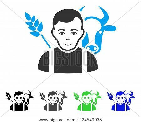 Glad Farmer vector pictogram. Vector illustration style is a flat iconic farmer symbol with grey, black, blue, green color variants. Person face has enjoy emotion.