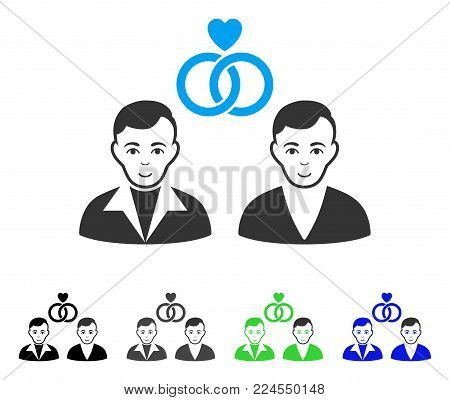 Enjoy Gays Marriage vector pictogram. Vector illustration style is a flat iconic gays marriage symbol with gray, black, blue, green color versions. Person face has happy mood.
