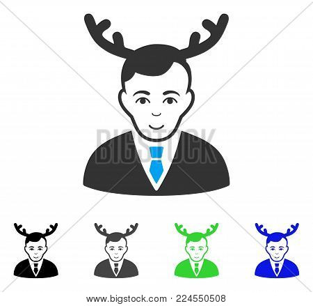 Gladness Horned Husband vector icon. Vector illustration style is a flat iconic horned husband symbol with gray, black, blue, green color versions. Person face has positive emotion.