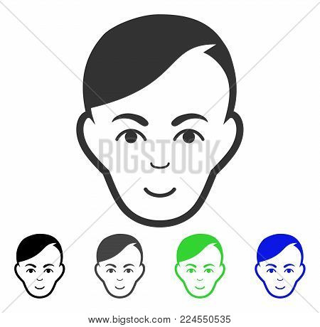 Positive Human Head vector pictogram. Vector illustration style is a flat iconic human head symbol with grey, black, blue, green color variants. Person face has cheerful sentiment.