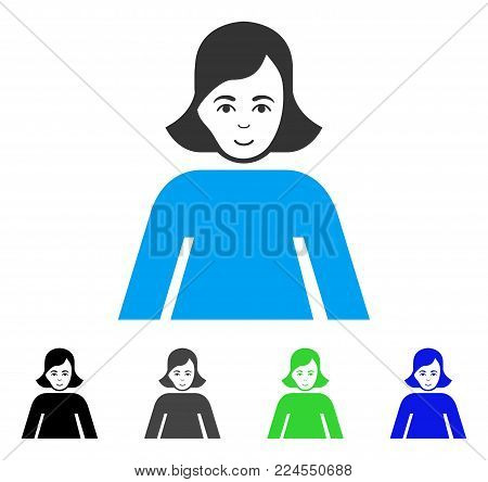 Gladness Lady vector pictograph. Vector illustration style is a flat iconic lady symbol with grey, black, blue, green color variants. Human face has cheerful sentiment.