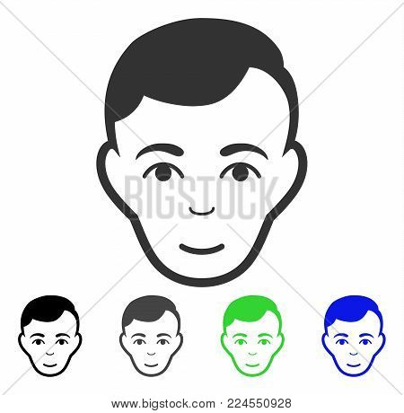Happiness Man Face vector pictogram. Vector illustration style is a flat iconic man face symbol with gray, black, blue, green color variants. Person face has joy sentiment.
