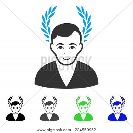 Gladness Man Glory vector icon. Vector illustration style is a flat iconic man glory symbol with grey, black, blue, green color versions. Human face has joy sentiment.