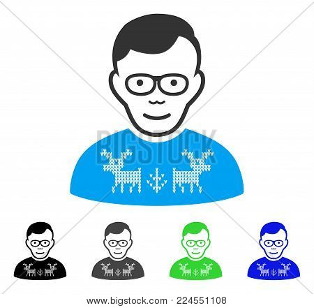 Glad Nerd Guy vector icon. Vector illustration style is a flat iconic nerd guy symbol with grey, black, blue, green color versions. Human face has joyful emotion.