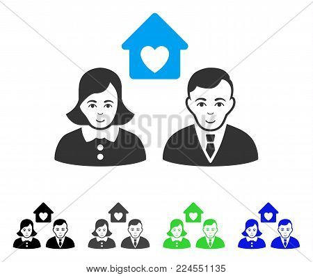 Happy People Marriage vector pictogram. Vector illustration style is a flat iconic people marriage symbol with gray, black, blue, green color variants. Human face has joy sentiment.