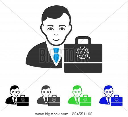 Glad Qtum Accounter vector icon. Vector illustration style is a flat iconic qtum accounter symbol with gray, black, blue, green color variants. Person face has enjoy mood.