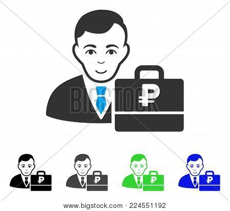 Joyful Rouble Accounter vector pictogram. Vector illustration style is a flat iconic rouble accounter symbol with gray, black, blue, green color variants. Person face has gladness feeling.