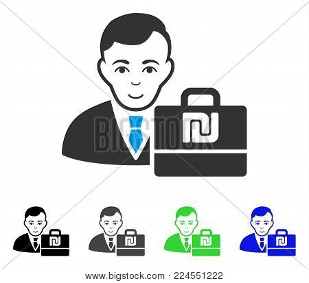Glad Shekel Accounter vector icon. Vector illustration style is a flat iconic shekel accounter symbol with grey, black, blue, green color variants. Person face has joy emotion.
