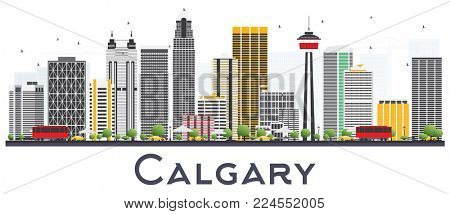 Calgary Canada City Skyline with Gray Buildings Isolated on White Background. Business Travel and Tourism Concept with Modern Buildings. Calgary Cityscape with Landmarks.