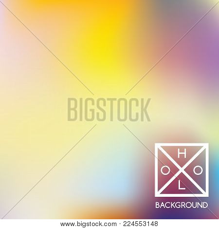 Holographic background. Holo sparkly cover. Abstract soft pastel colors backdrop. Trendy creative vector cosmic gradient.  Pastel fantasy foil.  Creative neon template for banner.