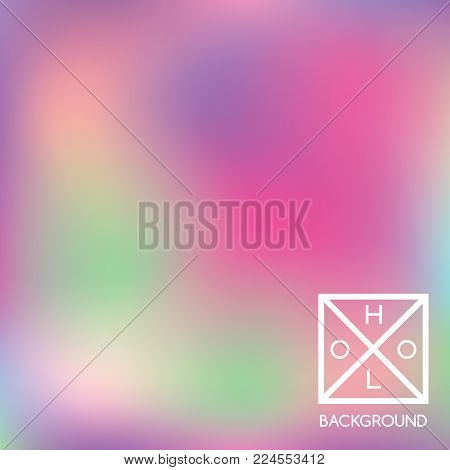 Holographic backdrop. Holo iridescent cover. Abstract soft pastel colors backdrop. Minimal creative vector gradient.  Pastel holographic foil.  Vintage neon template for banner.