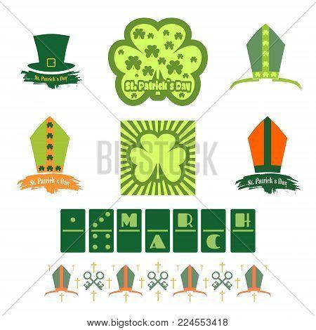 St. Patricks Day greeting card design elements set. Bishop hat and shamrock. Vector illustration.