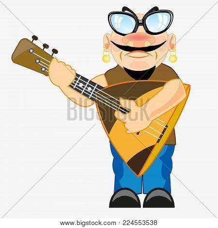 Man with music instrument balalaika in hand