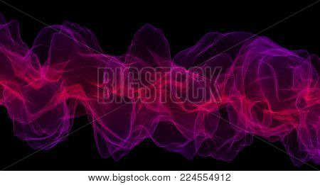 Otherworldly mystical atmosphere, red and violet air waves on a black background.