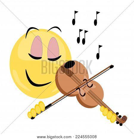 emoji happily playing the violin, eps vector format, jpeg