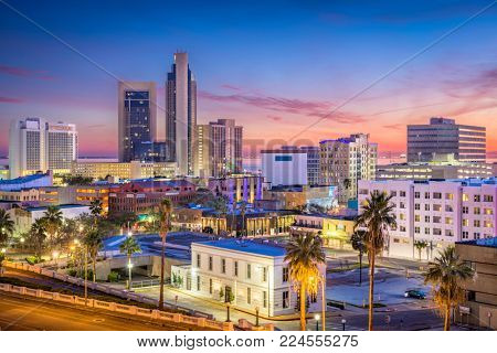 Corpus Christi, Texas, USA Skyline at dusk.