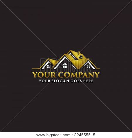 Real estate Logo - An illustration of a real estate logo representing a gold roof of a luxurious house