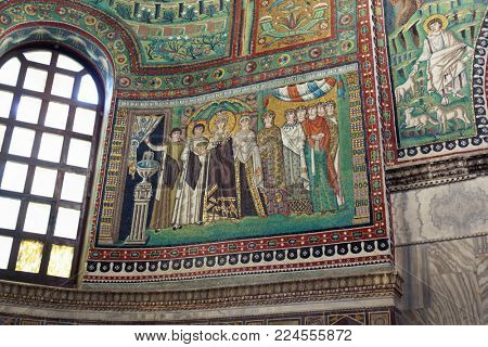 RAVENNA, ITALY - JUNE 15, 2017: Mosaics in Basilica of San Vitale. Built in VI century, it is one of the most important examples of early Christian Byzantine art and architecture in Europe, and listed