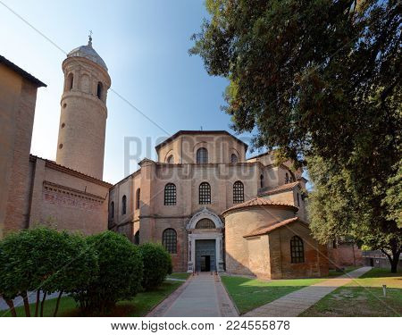 RAVENNA, ITALY - JUNE 15, 2017: Basilica of San Vitale. Built in VI century, it is one of the most important examples of early Christian Byzantine art and architecture in Europe
