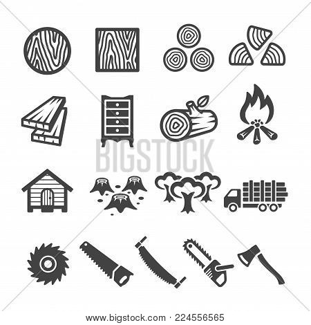 wood and wooden icon set vector illustration