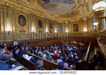 PARIS, FRANCE - SEPTEMBER 14, 2013: People in the Salle Louis Liard of Sorbonne university during European Heritage Days. First event also known as Doors Open Days was held in France in 1984