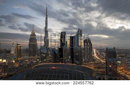 Dubai, Uae, January 30th 2018: Dubai Skyline At Sunset