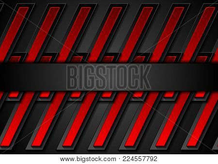 Red and black contrast abstract technology background. Vector corporate geometric design